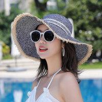 户外防晒帽子女士出游海边度假沙滩帽 大沿可折叠帽子女太阳帽遮阳草帽