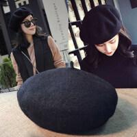 日系蓓蕾帽潮女士百搭羊毛帽子 韩版复古毛呢画家帽女士贝雷帽女南瓜帽