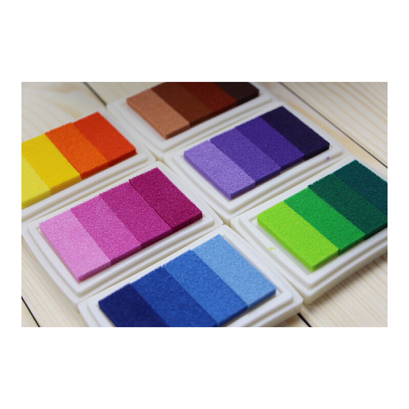 一口价3盒  韩国文具 渐变色印台4色 多彩彩色印泥 DIY印章伴侣婚礼 彩色大印泥印台 渐变色印泥