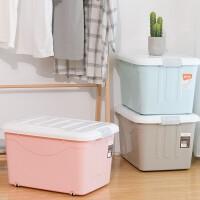 禧天龙大号带轮3个装收纳箱60L玩具衣服装被子塑料整理箱储物箱