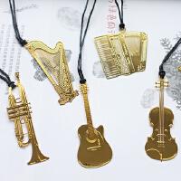乐器金属书签镀金挂绳学生文艺镂空书签音乐器材书签