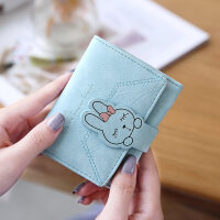 新款钱包女短款韩版简约新款可爱兔子搭扣三折学生多卡位小钱夹
