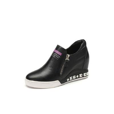 红蜻蜓coolala真皮女士内增高女单鞋欧美街头韩版潮流时尚女鞋