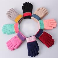冬季韩版儿童毛线手套可爱加绒加厚双层保暖针织五指手套男女冬天