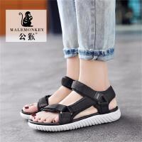 公猴夏季新款凉鞋子女平底外穿罗马凉拖学生韩版简约运动沙滩鞋