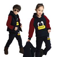 男童女童装秋装儿童加厚加绒春装卫衣三件套宝宝棉衣服外套装