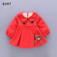 女童连衣裙秋加绒公主裙子女宝宝过年新衣服小童儿童新年装韩版 8397款