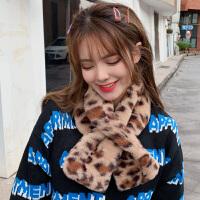 时尚豹纹围巾女士秋冬季韩版百搭毛领子仿獭兔毛围脖毛毛绒脖套
