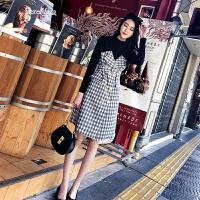 格子连衣裙女2018春装新款韩版中长款高腰拼接假两件套裙子女春季 图片色
