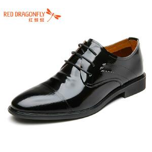 红蜻蜓男鞋2017年春秋新款皮鞋男士商务正装鞋真皮漆皮单鞋低帮鞋