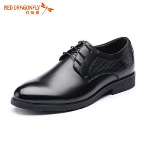 红蜻蜓传统经典系带商务休闲皮鞋