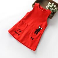 女童连衣裙3-5-8岁6小童公主马甲裙秋儿童裙子女宝宝毛呢背心裙