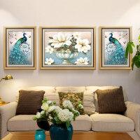 客厅装饰画沙发背景墙挂画三联美式孔雀壁画欧式墙画大气墙面油画