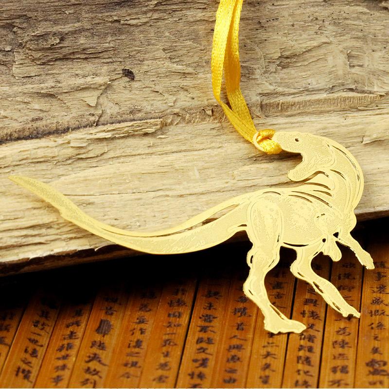 侏罗纪恐龙书签 当当自营 鲨齿龙 黄铜材质 镂空创意高档金属书签套盒中国风 韩国书签精美卡通可爱书签