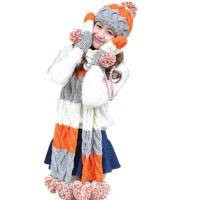 帽子围巾手套三件套装 一体围脖女冬季毛线帽加厚