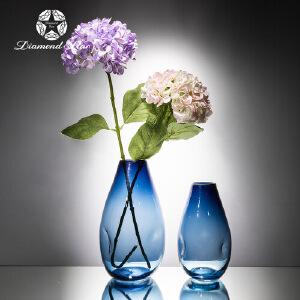 美庭 地中海风蓝色麻绳玻璃花瓶 彩色悬挂干花花瓶