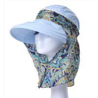 舒适透气精致印花大沿遮脸帽子防晒帽 便携耐用户外折叠沙滩太阳帽女