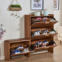 翻斗鞋柜薄简约现代门厅柜鞋架实木色门口玄关客厅简易经济型 组装