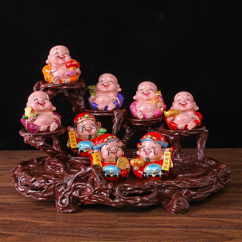 五福财神爷摆件家居创意五路小装饰品玄关电视柜摆设工艺品