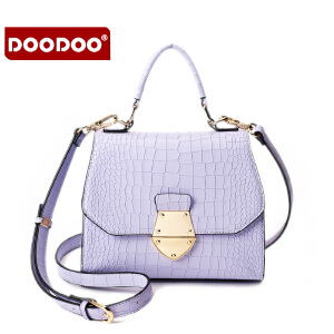 【支持礼品卡】DOODOO 2017新款夏季小包包时尚鳄鱼纹女包斜挎单肩手提包日韩小方包 D6012