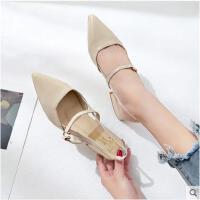 女鞋小清新尖头粗跟韩版平底凉鞋女新款鞋漆皮单鞋中跟鞋