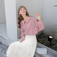 毛菇小象秋粉色条纹衬衫女设计感小众长袖娃娃领衬衣宽松休闲上衣