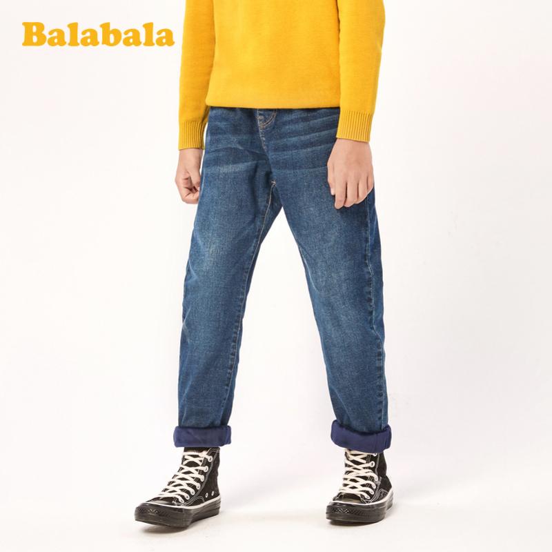 巴拉巴拉儿童裤子2019新款中大童加绒牛仔裤保暖洋气百搭男童长裤
