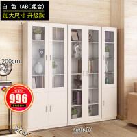 带门书柜书架简约现代置物架客厅柜子多功能储物柜玻璃书橱经济型 0.8-1米宽