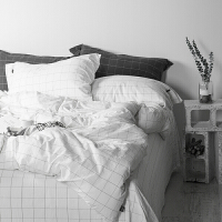 北欧简约格子水洗棉15M床单四件套日式酒店全棉18M床笠被套 2.0m(6.6英尺)床 床单款