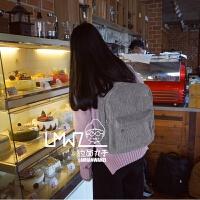 新款韩国休闲百搭简约复古灯芯绒色日系双肩包学生书包男女情侣背包