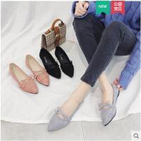 春季新款韩版单鞋尖头平底鞋女浅口瓢鞋软底工作鞋豆豆鞋女鞋