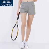 古星夏季新款运动裤女士休闲三分裤两条杠时尚显瘦薄款透气短裤潮