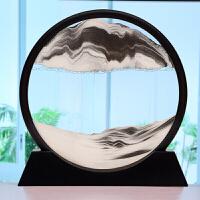 新款沙漏摆件家居装饰品3d流沙画现代简约客厅办公室创意生日礼物Q