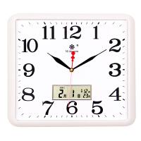 北欧风简约方形电子挂钟客厅静音钟表家用个性创意万年日历石英钟客厅挂钟