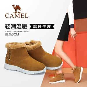 Camel/骆驼女鞋 2018冬季新款 平跟时尚舒适日常休闲潮流短筒女靴