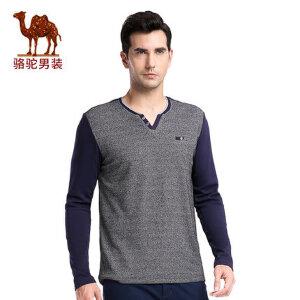 骆驼男装 秋季新款时尚撞色拼料休闲男士V领修身长袖T恤衫男