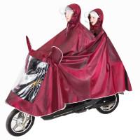 电动自行车雨衣 雨衣电瓶车摩托车雨披加大加厚电动自行车男女款单人双人骑行S 5XL双人款-酒红色 XXXXL