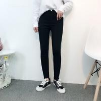 黑色外穿打底裤女春装新款铅笔裤弹力显瘦小脚裤长裤子大码紧身裤 黑色