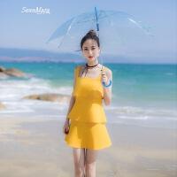 2018夏季新款韩版女装修身吊带背心裙荷叶边连衣裙夏短裙裙子 黄色