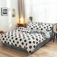 君别白色打底黑色圆点冬季珊瑚绒四件套床单学生宿舍床上三件套 爱你比心
