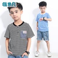 唯思凡2018新款童装男童夏装儿童休闲上衣中大童夏季条纹短袖T恤