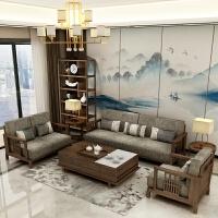 新中式实木沙发组合北欧现代简约禅意布艺客厅轻奢别墅会所小户型