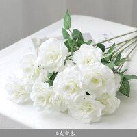 三头仿真玫瑰花套装花束假花月季花客厅餐桌婚庆花艺插花干花装饰