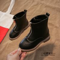 女童靴子2018秋冬季儿童韩版二棉英伦短靴中筒靴小女孩马丁鞋皮靴