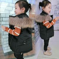 童装女童季新款兔子马甲真毛领羽绒加厚儿童中小童连帽外套 黑色
