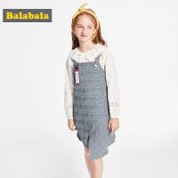 巴拉巴拉童装女童连衣裙2019新款秋装儿童公主裙洋气格子吊带裙子