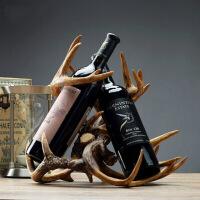 创意家装饰品摆件客厅美式家居玄关欧式酒柜红酒架摆设树脂工艺品Q 鹿角酒架