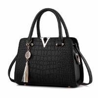 手提包女士包包2018新款女包单肩包斜跨包鳄鱼纹女包中年女式包包