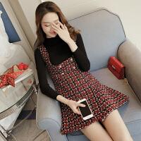 格子毛呢背带裙套装女春季韩版修身针织打底字连衣裙两件套4289 酒红