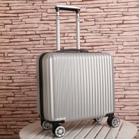 登机箱18寸迷你16寸女行李箱包20寸小型旅行箱商务男拉杆箱密码 银色 普通款